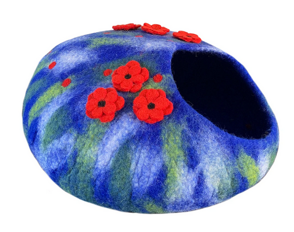 Blue Poppies Felt Cat House / Cave / Condo