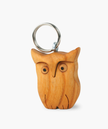 Wooden Key Ring, Owl 5cm
