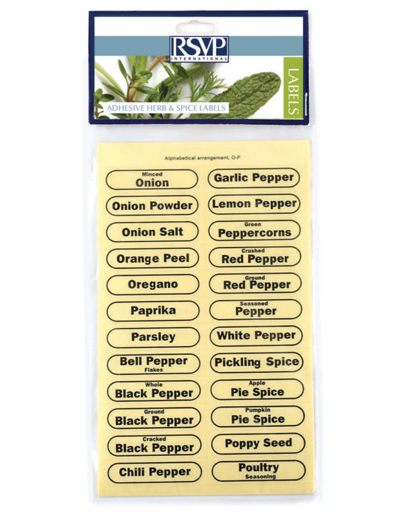 RSVP Clear Spice Labels S/84