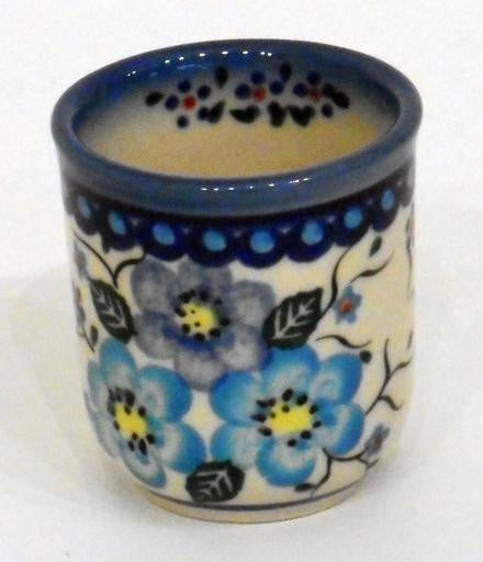 Shot Glass, Round, Blue Flowers & Vines