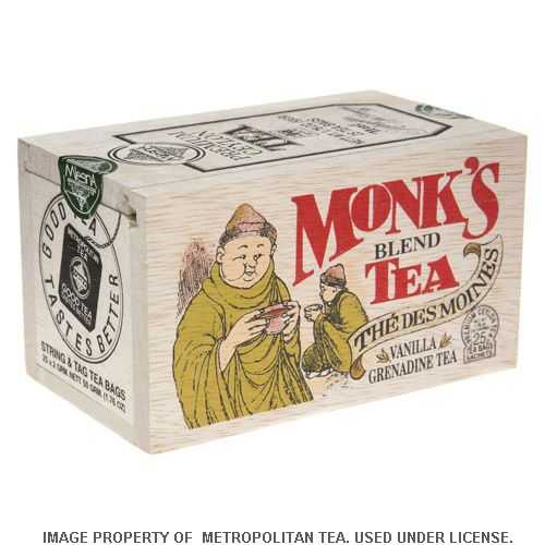 Wood Box, Monk's Blend Black Tea, 25 Teabags