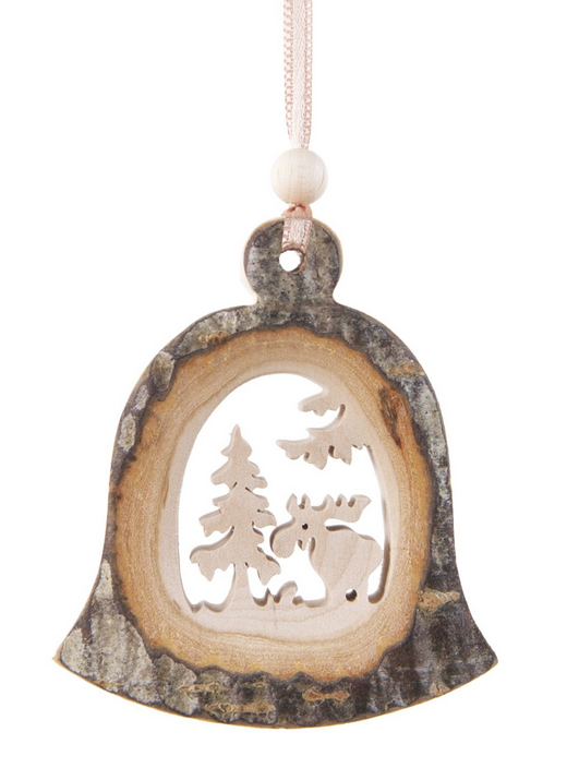Bark Bell-Shaped Ornament, Moose