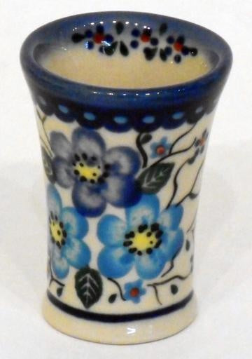Shot Glass, Flare, Blue Flowers & Vines