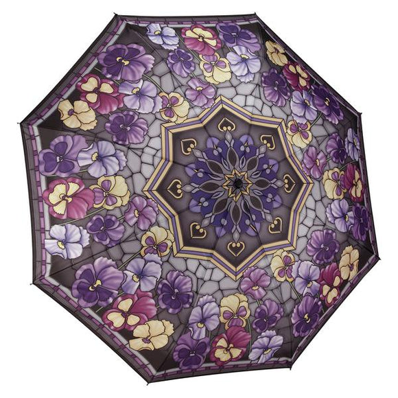 Folding Umbrella - Stained Glass Pansies