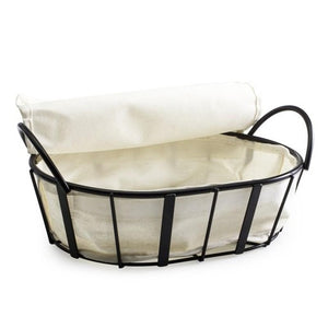 Metal Bread Basket with Cloth Liner