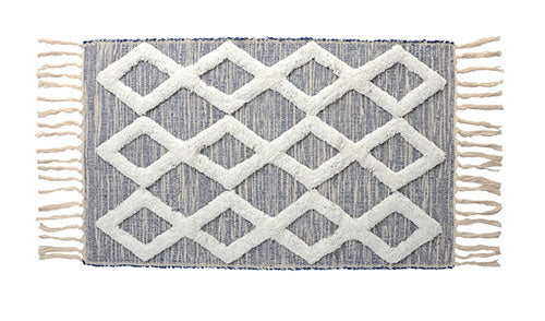 Randal Cotton Bath Mat, Blue/Natural 20x32