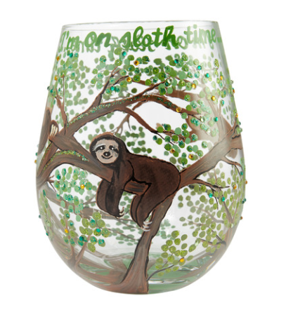 Sloth Time Wine Glass, 20oz Stemless