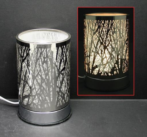 Touch Sensor Lamp - Silver Forest w/Scented Oil Holder, 7
