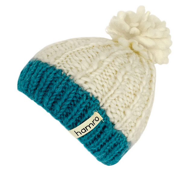 Hamro Knitted Hat, Laysa Beanie, White/Teal
