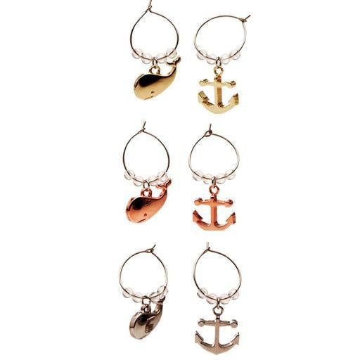 Coastal Wine Charms, Anchors/Whales Set of 6