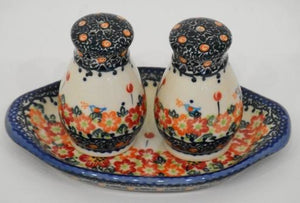 Salt & Pepper Shakers, Round, Red Flowers & Butterflies