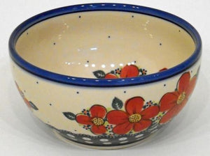 Bowl, 19x9cm, Red Flowers & Dots