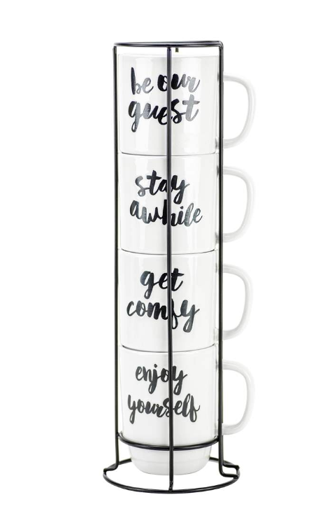 Stacking 'Expressions' Mugs With Stand, Set of 4