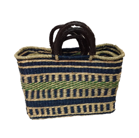 Handwoven Seagrass Shopping Bags, Set of 3, Blue/Green
