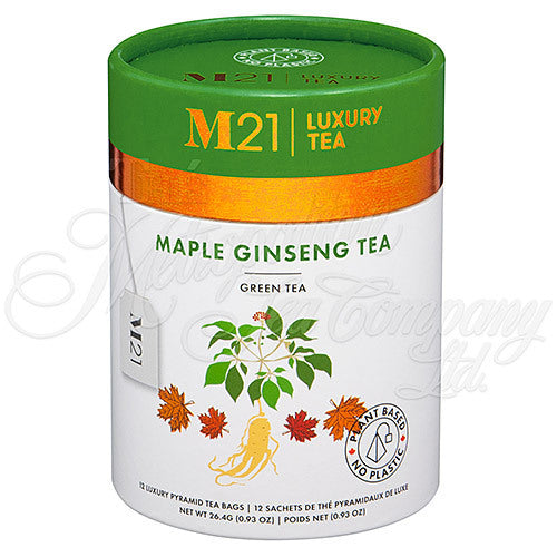 M21 Luxury Tea, Ginseng Maple Green Tea, 12 Pyramid Bags