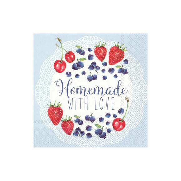 Lunch Napkin - Homemade With Love, Light Blue