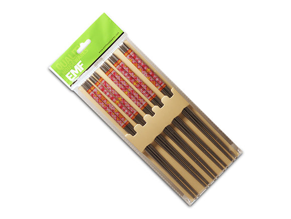 Stainless Steel Chopsticks w/Red Detail, 5 Pair, Hollow 22.5cm