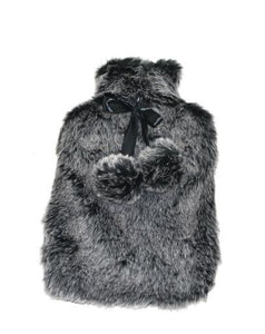 Hot Water Bottle, Faux Fur Grey w/Pom Poms 2 L 22x36cm
