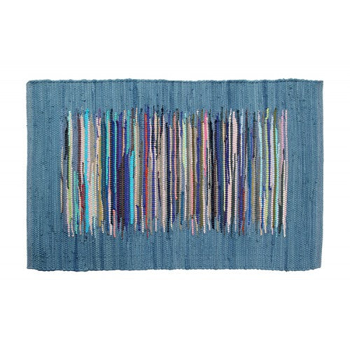 Chindi Rug, Blue Colour w/Multi-Colour Inset Stripe Block 24x36