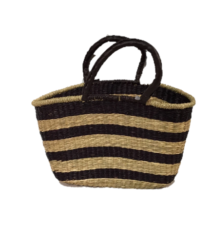 Greener Valley, Seagrass Oval Bag Brown Stripe