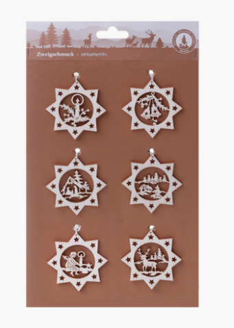 Branch Jewelry, Set of 6 Laser-Cut Wooden Ornament Scenes #2