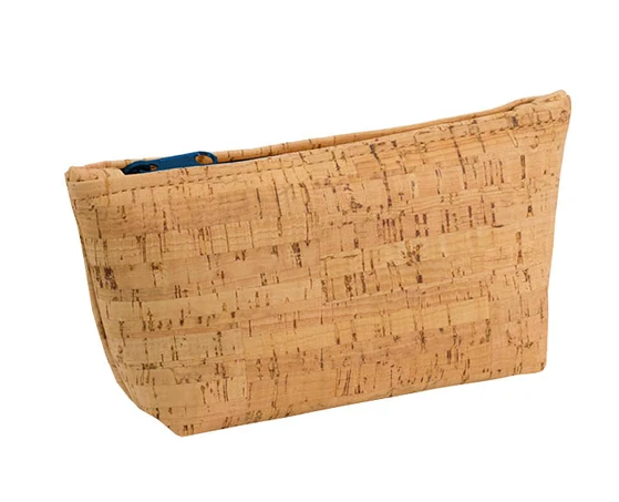 Be Organized Rustic Cork Medium Pouch w/ Navy Zip