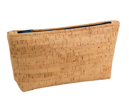 Be Organized Rustic Cork Large Pouch w/ Navy Zip