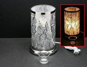 Touch Sensor Lamp - Silver Feather w/Scented Oil Holder, 9.5""