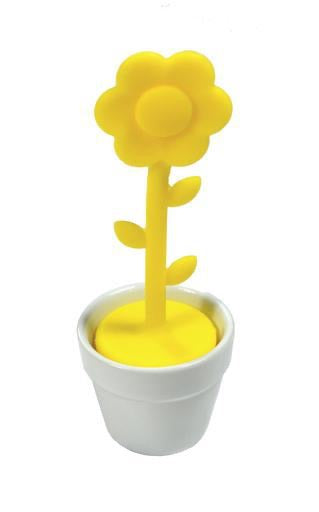 Silicone Tea Infuser, Yellow Flower in Pot