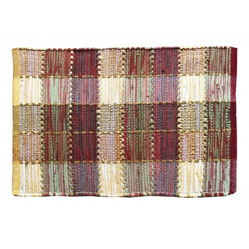 Floor Mat, Cotton/Chindi  Red/Yellow/Mixed Check/Stripe 20x30