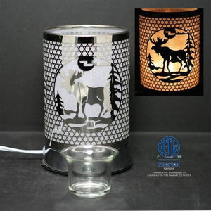 Touch Sensor Lamp, Silver Moose w/Scented Oil Holder, 7""