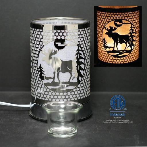 Touch Sensor Lamp, Silver Moose w/Scented Oil Holder, 7