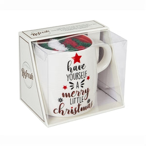 Ceramic Cup and Sock Gift set, 12oz, Merry Little Christmas