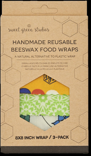 Handmade Reusable Beeswax Food Wraps - 3 Packs (12x12, 10x10, 8x8) Assorted