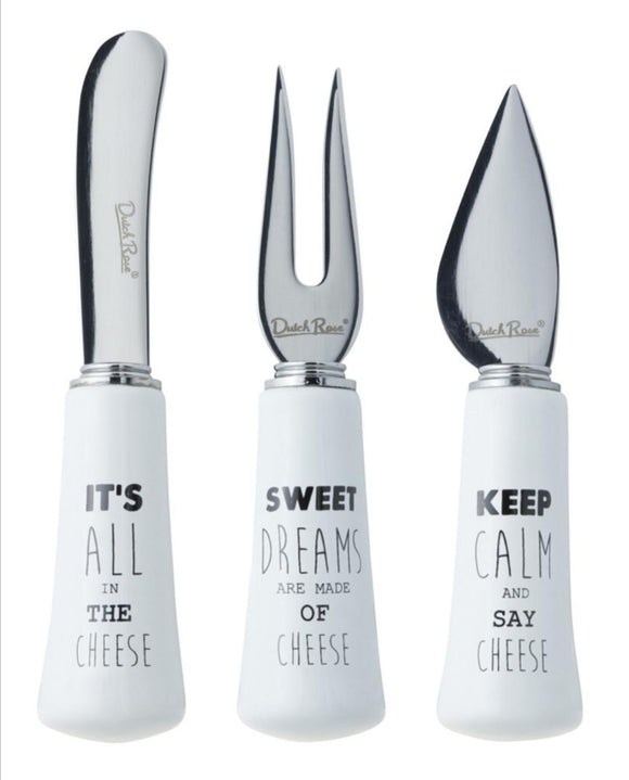 Dutch Rose Cheese Knives, Set of 3 w/Gift Box