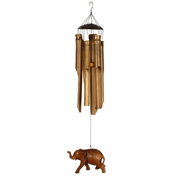 Woodstock Half Coconut Bamboo Chime - Medium, Elephant