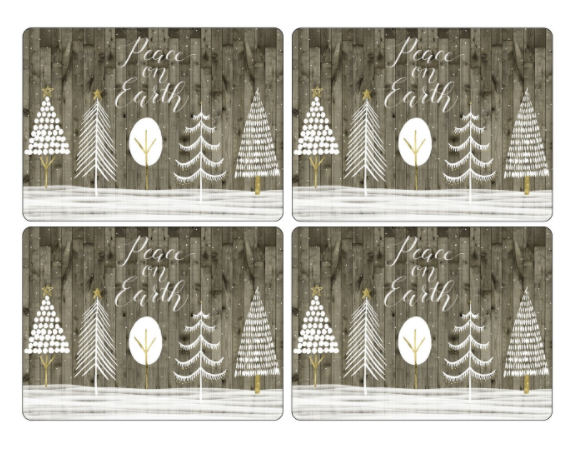 Wooden White Christmas Cork-Backed Placemats, Set of 4