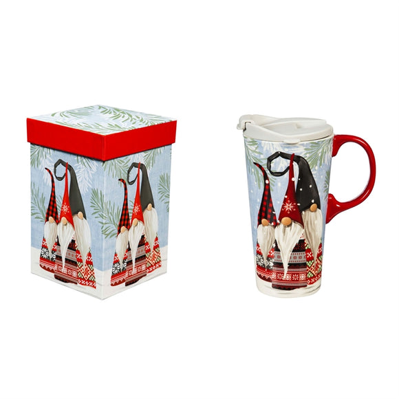 Ceramic Travel Cup w/Tritan Lid & Gift Box, 17oz Winter Gnomes