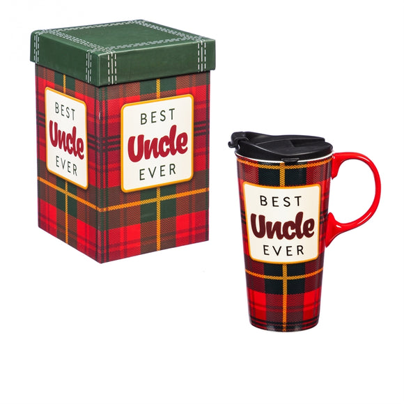 Ceramic Travel Cup w/Tritan Lid & Gift Box, 17oz Best Uncle Ever