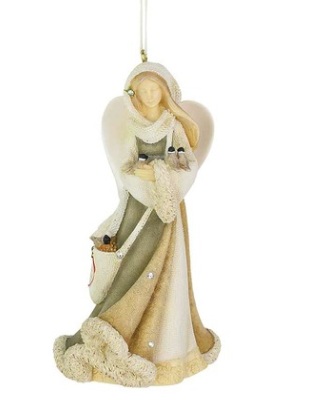 HRTCH Angel With Birds Ornament, 4.13