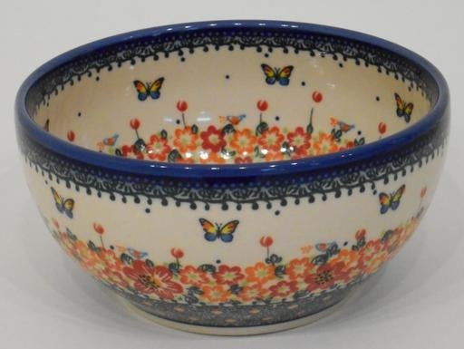 Bowl, 19x9cm, Red Flowers & Butterflies