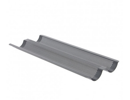DeBuyer Baguette Baking Tray, 2 Slot Non-Stick Perforated Steel