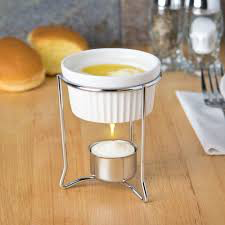Butter Warmer, 3oz Chrome Plated w/Stoneware Pot
