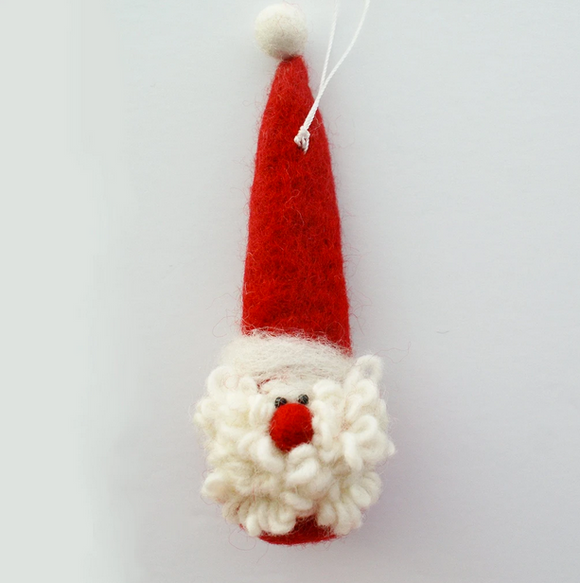 Hamro Felt Ornament, Santa with Curly Beard