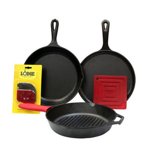 Lodge 6 Piece Set (1Skillet, 1Grill Pan, 1 Griddle +3 Accessories)
