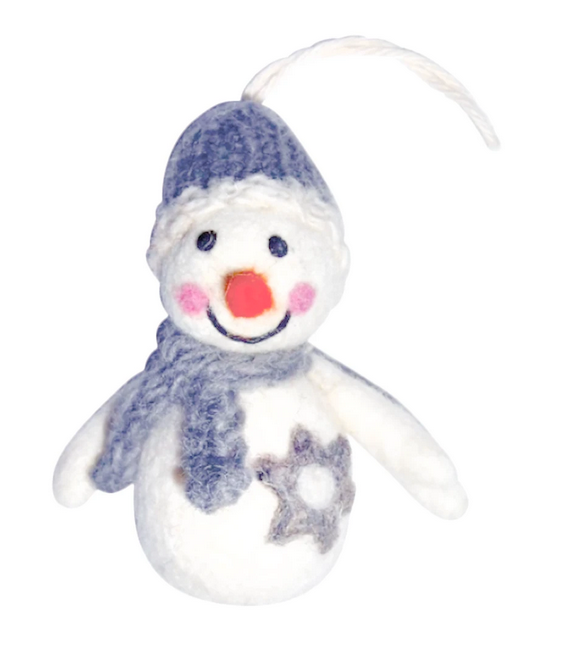Happy Snowman Felt Ornament, 2.5x3