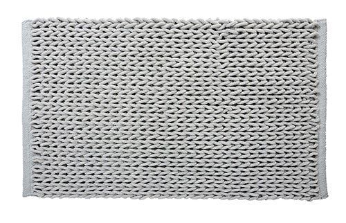 Braided Cotton/Micro Poly Bath Mat, Mist Grey 20x32