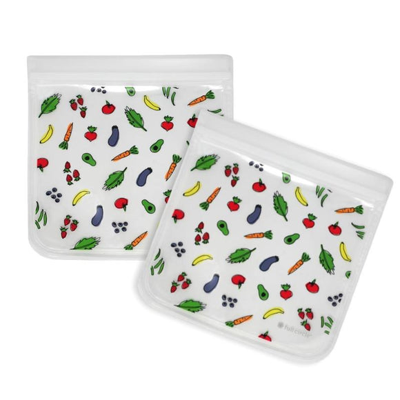 ZipTuck Re-Usable Sandwich Bags, Set of 2 - Fruit & Veggies