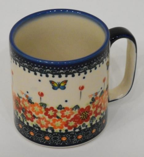 Mug, Straight, 400mL, Red Flowers & Butterflies