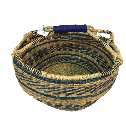 Greener Valley, Seagrass Oval Bag Natural w/ Blue Diagonal Stripes